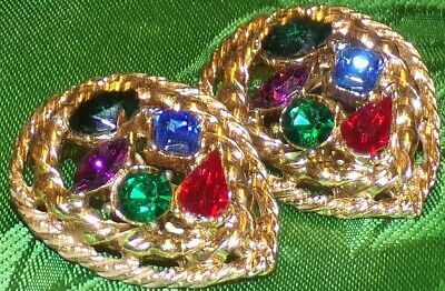 Huge Antique Signed Cm.ient Colorful Rhinestone Vtg.big Old Gold Estate Earrings