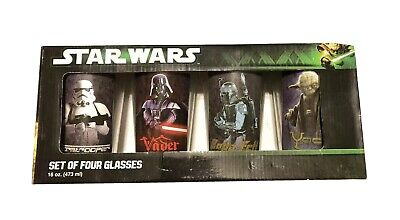 Star Wars 4 pc 16oz Pint Glass Set Darth Vader Storm troopers Yoda Official NEW