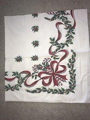 Vintage Tablecloth Christmas 60x52 Candy Cane Holly Holiday Red White Exc