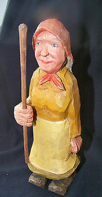 Vintage Hand Carved & HP Wood Figure of an Elderly  Woman w Long Stick