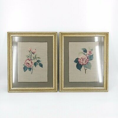 Vintage Pair Framed Floral Roses Shabby Victorian French Country Needlepoint