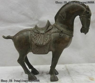 10 Old Chinese Fengshui Bronze Lucky Zodiac Year Tang Horse Statue Art Sculpture