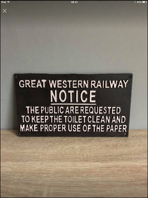 GWR Great Western Railway Cast Iron Replica Sign / Plaque