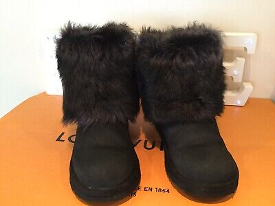 UGG Australia Big Kids Girls ELLEE LEATHER FUR Boots Black 1008178K UK 2