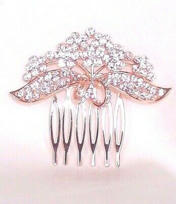 New Pink Rose Gold Colour Diamante Bow Flower Hair Comb Grip Wedding Bridal Prom