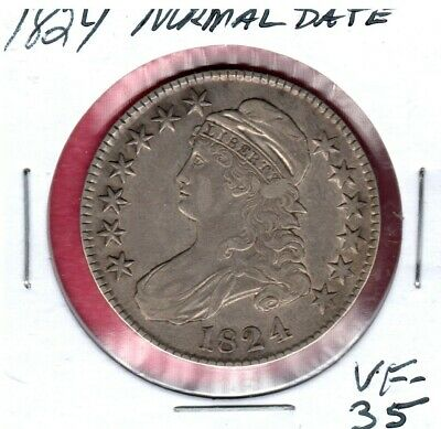 1824 Capped Bust Silver Half Dollar Normal Date Grade Choice Vf #2348