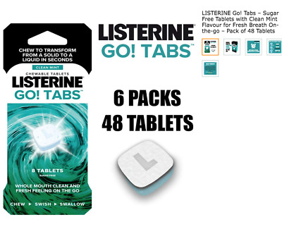 6x Listerine Go! Tabs Clean Mint 8 Chewable Fresh Breath Tablets