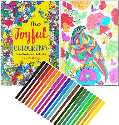 Creative Therapy - Adults Adult Colouring Book A4 - Anti-Stress + 20 Felt Tips