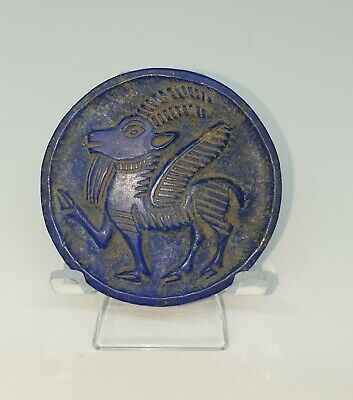 Beautiful Lapis Lazuli Circle plate with beautiful engraving of a horned Goat