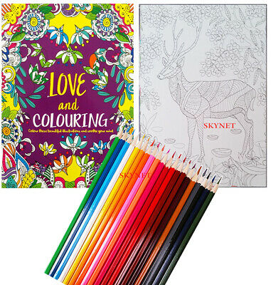 Colour Therapy Love And Colouring Book For Adults  - A4 Size - 48 Pages- New