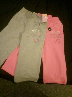 X2 Pairs New Girls Evie Jog Bottoms Age 3-4 Years One Pink One Grey