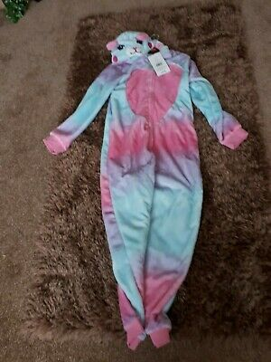 Girl's Pyjama's age 11-12.Pink & Blue Animal All in one
