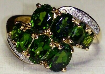 Uk Hallmarked 9ct Gold Natural Russian Diopside & Diamond Cluster Ring,Sz N