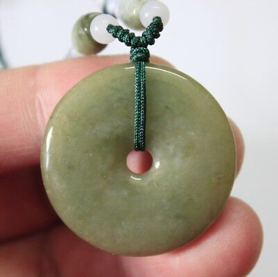 Certified Natural JADE Grade A Untreated Oily Green Jadeite Circle Donut Pendant