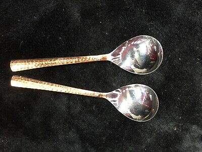 Copper and Steel Spoon Pair
