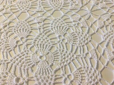 """Vintage Beautiful White Hand Crochet Tablecloth ( 68"""" x 74"""")"""