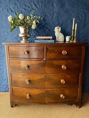 Antique Mahogany Veneer Bow Front Chest Of Drawers