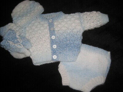 Hand Knitted Blue Marble Cardigan Set For 20 Inch Reborn Newborn Baby
