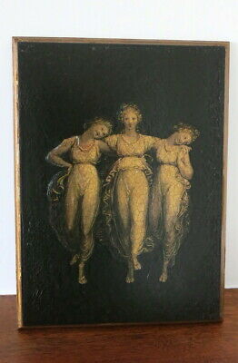 Antique Style Ornate Three Graces  black and Gold Art & Crafts Picture
