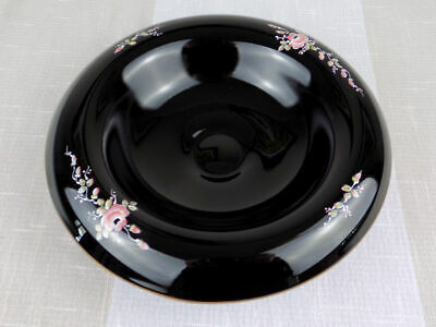 Fenton black glass rolled console bowl copper edge hand painted Roses signed