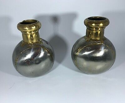 Antique Arts And Crafts Movement Pair Of Tin Plate Vases