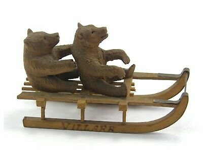 Antique 19th century Black Forest carved wooden figure bears on sledge sledging