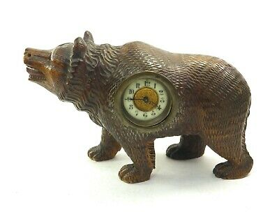 Antique 19th century Black Forest carved wooden bear figural mantle clock
