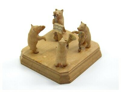 Antique 19th century Black Forest carved wooden figure group bear orchestra