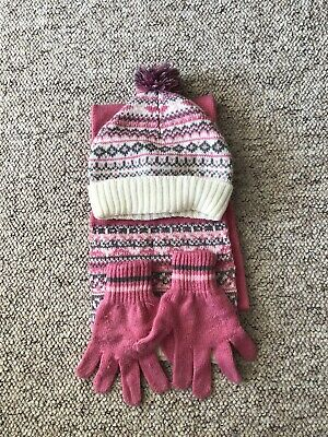 Girl's Scarf, Hat & Gloves Set - Size 7-13 Years
