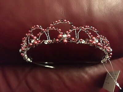 Burgundy, Pink & Silver Tiara/Headband - Weddings, Proms, Etc.