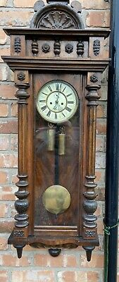 Antique Walnut Double Twin Weighted Vienna Wall Clock