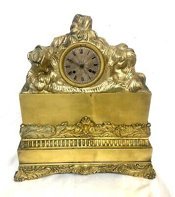 Antique French Brass or Bronze Mantel Bracket Clock by ARERA