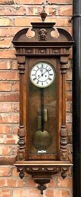Antique Walnut Double Twin Weighted Vienna Wall Clock L05