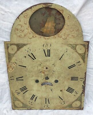 A very rare Antique Longcase Grandfather Clock Dial h26 rocking ship h26