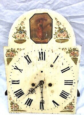 Antique Longcase Grandfather Clock Dial and Movement 8 day