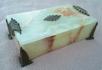 Antique Art Deco French Onyx And Bronze Effect Handles Trinket Box
