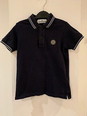 Authentic Stone Island Navy Polo Top Boys Age 4