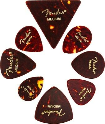 Fender Guitar Picks ALL SHAPES SAMPLE Tortoise Shell Mix Medley MEDIUM (8 PICKS)
