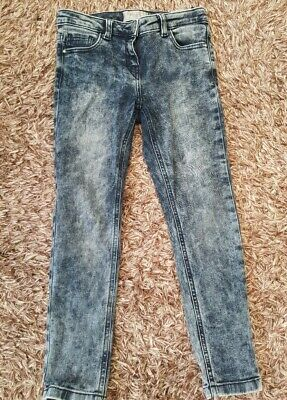 Next Unisex Skinny Leg Indigo Distressed Bleached Jeans Age 9 yrs