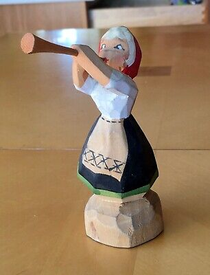 Vintage HENNING PILLAR-GURI HAND CARVED WOOD FIGURE Girl Blowing Horn
