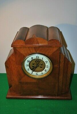 Art Deco Walnut Veneer Mantle Clock