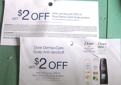12X $2 off coupon on any One Dove Derma+Scare Scalp Product (Women & Men) Canada