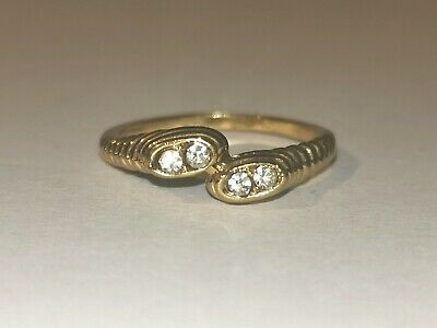 Unusual Gold Tone Ring With Clear Stones - Metal Detecting Find
