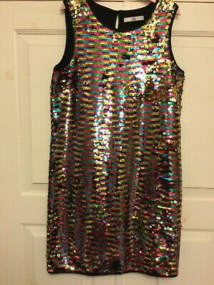 Marks & Spencer girls multicoloured two way sequin shift dress Boden style 10-11