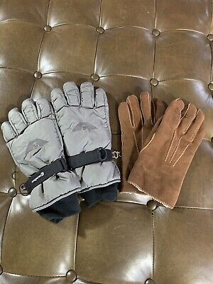 Grandoe Suede Leather Gloves Size Brown & Gray Ski Snow Gloves Lot of 2 Medium