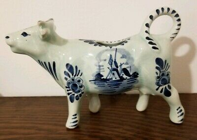 Holland Delft Cow Creamer Windmill Blue White