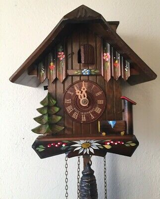 Works Antique Vintage German Schneider Cuckoo Clock Gula Black Forest Video S43