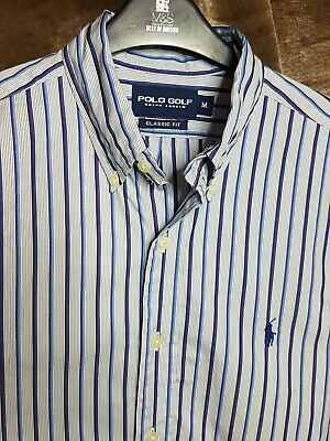 Polo By Ralph Lauren Golf Mens Shirt Blue White Stripe Medium Long Sleeve