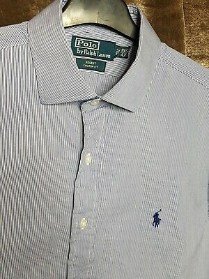 Polo By Ralph Lauren Mens Shirt Blue White Stripe Xl Long Sleeve