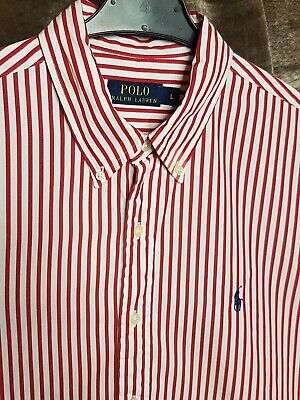 Polo By Ralph Lauren Mens Shirt Red White Stripe Large Long Sleeve